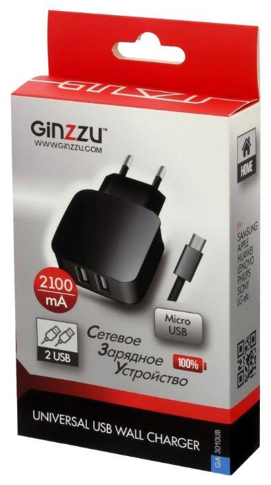 Сетевая зарядка Ginzzu GA-3010UB, черный фото 1