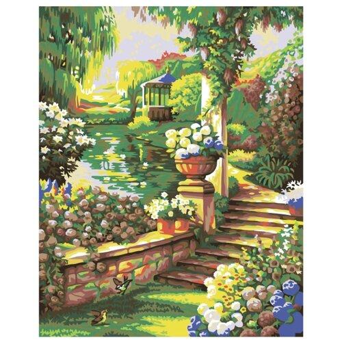 Купить Пруд в саду Раскраска картина по номерам на холсте PP01 40х50, Живопись по номерам, Картины по номерам и контурам