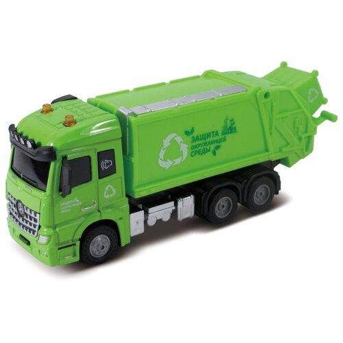 Мусоровоз, кабина die-cast, инерционный механизм, свет, звук, зеленый, 1:43 Funky toys FT61084
