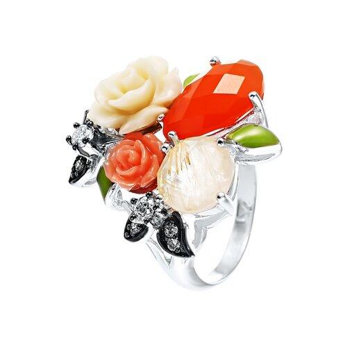 JV Серебряное кольцо с кварцем, агатом, цирконием SE2165-R-KO-KAG-QZV-CI-ENAM-001-WG, размер 16