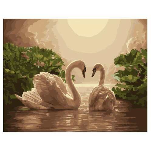 Купить ВанГогВоМне Картина по номерам Лебеди в закате , 40х50 см (ZX 22242), Картины по номерам и контурам