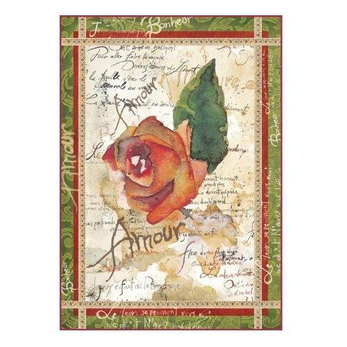 Купить Бумага рисовая мини - формат Розы и поэзия 21 х 29, 7 см (A4) 1 лист, Stamperia, Карты, салфетки, бумага