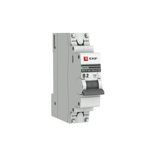 Фото - Автоматический выключатель EKF ВА 47-63 1P (B) 4,5kA 2 А автоматический выключатель ekf ва 47 63 1p b 6ka 50 а