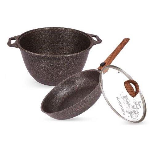 Набор посуды Kukmara Granit ultra original №18 нкп18го 3 пр. granit original сковорода d 24 см kukmara кофейный мрамор смки240а