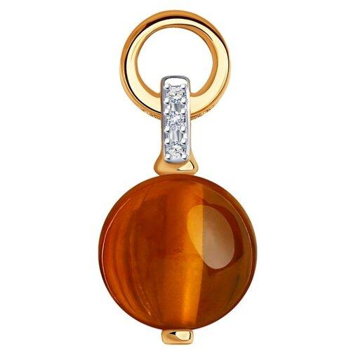 SOKOLOV Подвеска из золота с родированием с бриллиантами и янтарём 6033017