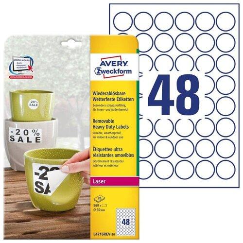 Фото - Этикетки Avery Zweckform, всепогодные, 30 мм, белые, 960 штук, 20 листов этикетки всепогодные 99 1x139 мм удаляемые 80 штук 20 листов белые