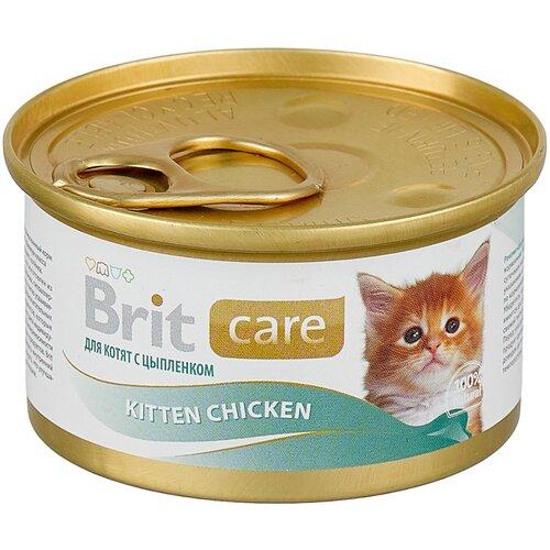 Фото - Влажный корм для котят Brit Care, с курицей 80 г (мини-филе) влажный корм для кошек brit care с курицей 2 шт х 80 г мини филе