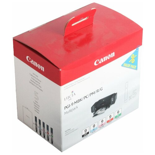 Фото - Набор картриджей Canon PGI-9 MBK/PC/PM/R/G (1033B013/1033B011) набор картриджей canon pgi 9 mbk pc pm r g многоцветный 5 картриджей