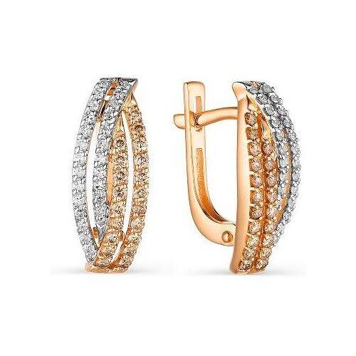АЛЬКОР Серьги с 90 бриллиантами из красного золота 23470-117