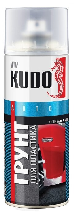 Грунт аэрозоль для пластика KUDO KU-6000, прозрачный 520мл (6шт)