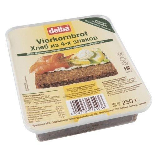 Delba Хлеб из 4 злаков бездрожжевой зерновой в нарезке 250 г