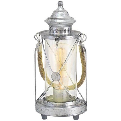 Лампа декоративная Eglo Bradford 49284, E27, 60 Вт, цвет арматуры: серебристый настольная лампа eglo almera 89116 60 вт