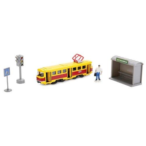 Купить Трамвай ТЕХНОПАРК SB-17-14-A-WB 16.5 см красный/желтый, Машинки и техника