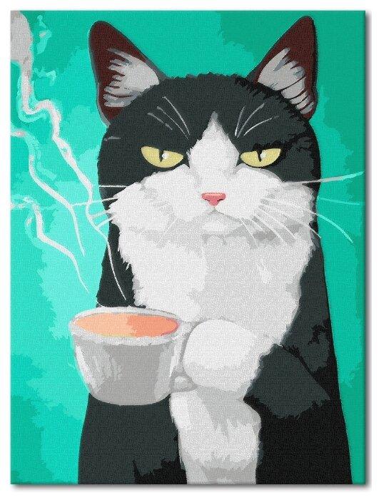 """Купить Набор для рисования """"Кот и кофе"""" / Картина по номерам / Раскраска по номерам 30х40 на подрамнике по низкой цене с доставкой из Яндекс.Маркета"""