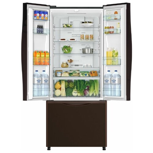 Двухкамерный холодильник Hitachi R-WB 562 PU9 GBW коричневое стекло