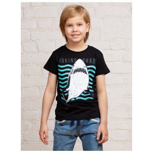 Купить Футболка MOR Акула в море размер 134-140, черный/белый, Футболки и майки