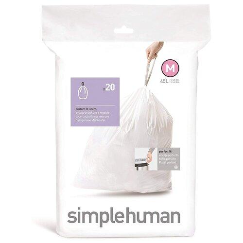 Мешки для мусора Simplehuman M 45 л, 20 шт., белый