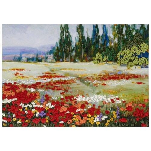 Купить PANNA Набор для вышивания лентами Живая картина. Цветочное поле 27.5 х 19.5 см (JK-2052 / ЖК-2052), Наборы для вышивания