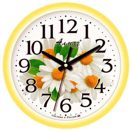 Часы настенные кварцевые Алмаз E33 желтый/белый
