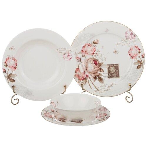 Столовый сервиз Lefard Мэрибель 87-091, 6 персон белый/коричневый/розовый