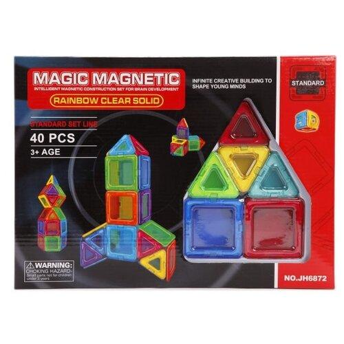Магнитный конструктор Наша игрушка Magic Magnetic Standard JH6872 Rainbow Clear Solid