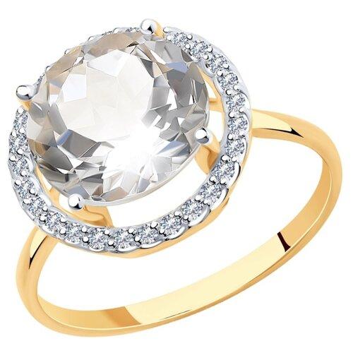 SOKOLOV Кольцо из золота с горным хрусталем и фианитами 715819, размер 17.5 по цене 24 990