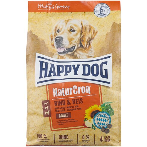 Сухой корм для собак Happy Dog NaturCroq, говядина, с рисом 4 кг