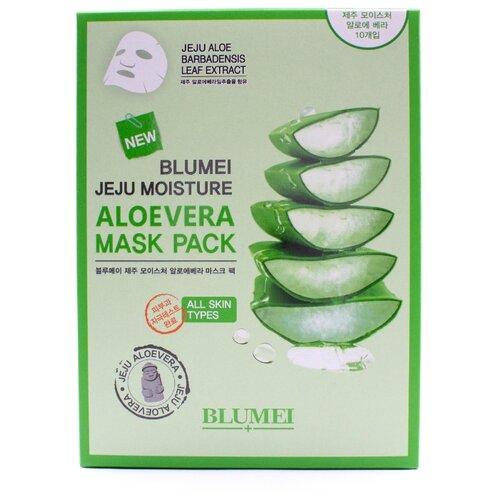 Blumei Маска тканевая Jeju Moisture Aloe Mask, 23 г, 10 шт. the face shop jeju volcanic lava aloe nose strip объем 7 шт