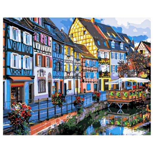 Купить Рыжий кот картина по номерам Красивые домики на побережье 40х50 см (Х-9194), Картины по номерам и контурам