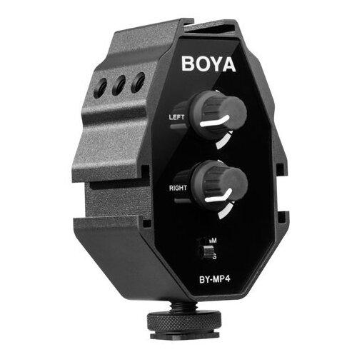 Фото - Boya BY-MP4 Двухканальный аудио адаптер(микшер) микрофон пушка boya by bm2021