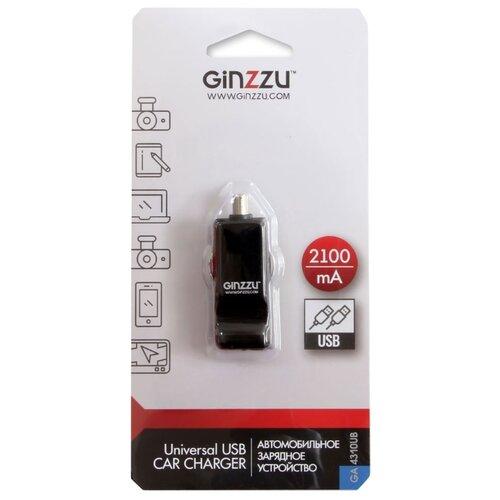 Автомобильная зарядка Ginzzu GA-4310UB, черный автомобильная зарядка ginzzu ga 4615ub черный