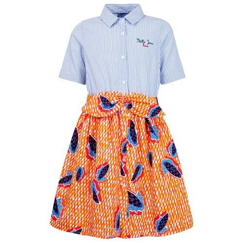 Платье Stella Jean размер 152, голубой/оранжевый/полоска