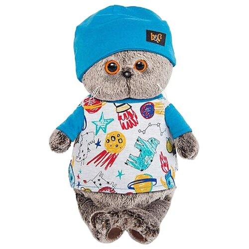 Купить Мягкая игрушка Basik&Co Кот Басик в футболке космос и в шапочке 22 см, Мягкие игрушки