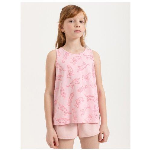 Майка Sela размер 128, розовый джемпер sela размер 128 розовый