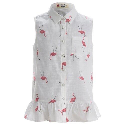Купить Блузка Button Blue размер 128, белый, Рубашки и блузы