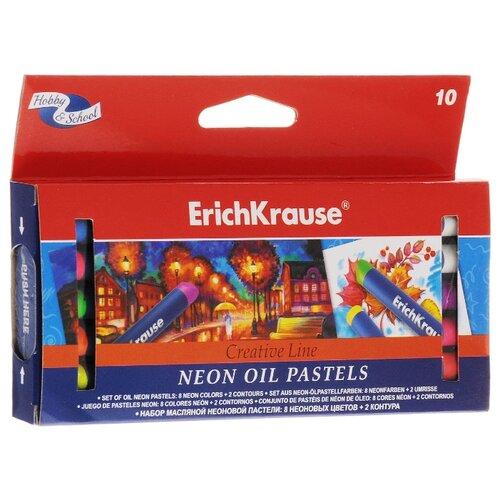 Купить ErichKrause Пастель масляная Creative Line Neon 8 цветов + 2 контура (39154), Пастель и мелки