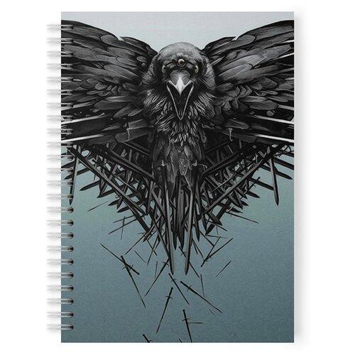 Тетрадь 48 листов в клетку с рисунком Трехглазый ворон из Игры престолов