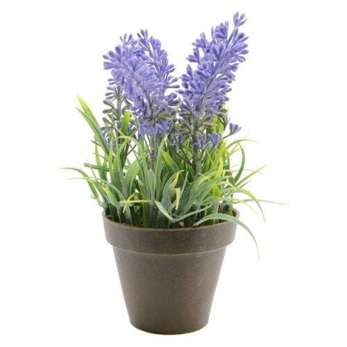 Элитные искусственные цветы ЛАВАНДА пышная в горшочке, пластик, 7x7x17 см, Kaemingk 804106