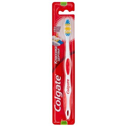 Зубная щетка Colgate Классика Здоровья многофункциональная, средней жесткости, красный зубная щетка средней жесткости isodent medium 1 шт blanx isodent