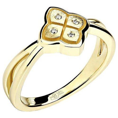 Эстет Кольцо с 4 бриллиантами из жёлтого золота 01К638746, размер 17