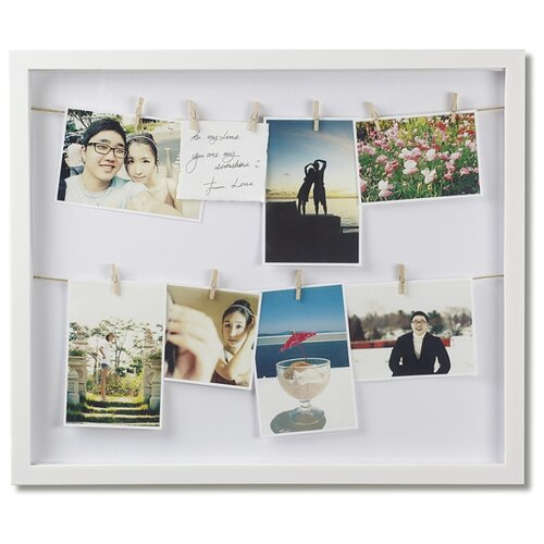 Панно с зажимами для 12 фотографий Clothesline белое
