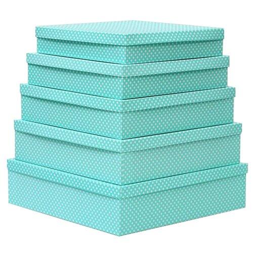 Набор подарочных коробок Мишель Фокс Белый горошек №14, 5 шт. салатовый