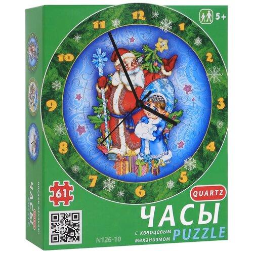 Часы-пазл Умная Бумага Часы Дед Мороз и Снегурочка (126-10), 61 дет.