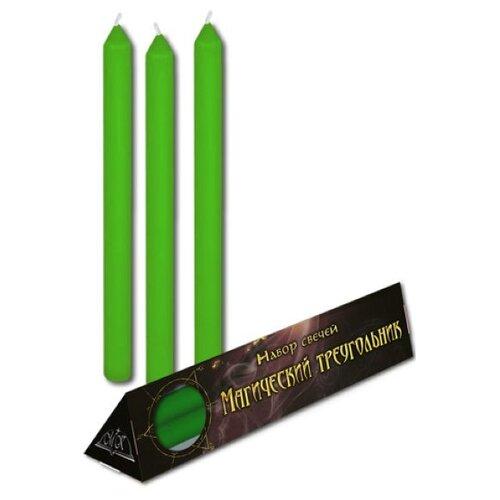 Свеча Magic-Kniga Магический треугольник (восковая), зелeный
