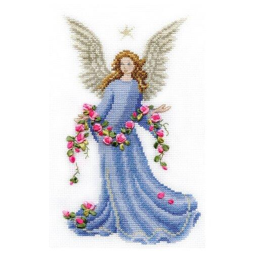 Купить PANNA Набор для вышивания крестиком с лентами Ангел с розами 15 х 23 см (F-0437), Наборы для вышивания