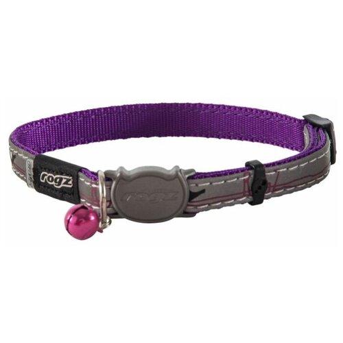Rogz ошейник для кошки серия Night Cat размер S, обхват шеи 20-31 см, серый, фиолетовый