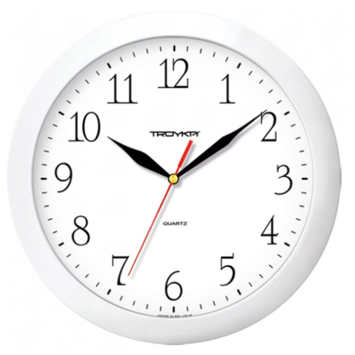 Часы настенные кварцевые Тройка 11110113 белый.