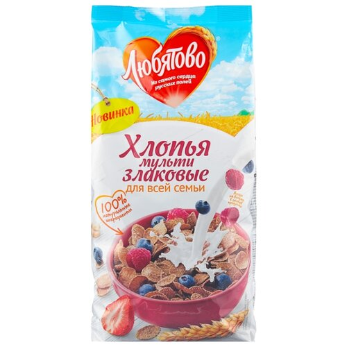 Готовый завтрак Любятово Хлопья мультизлаковые, пакет, 250 г