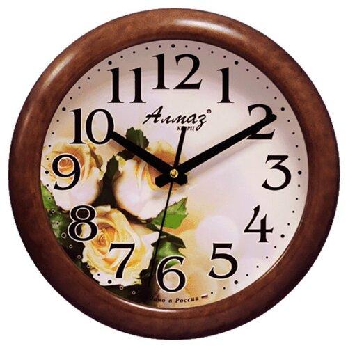 Часы настенные кварцевые Алмаз H57 темно-коричневый/бежевый фото