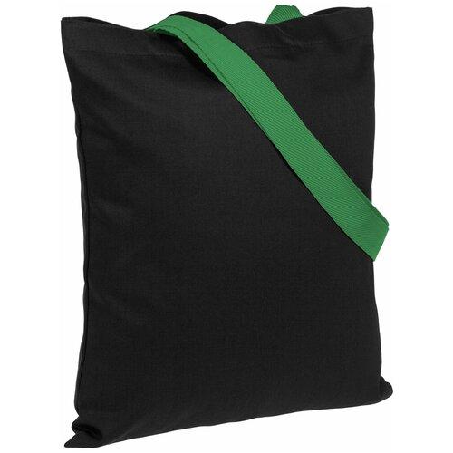 Сумка-шоппер BrighTone, черная с зелеными ручками